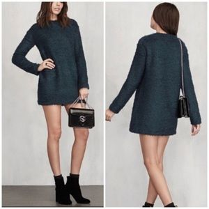 Reformation Loki Green Shag Sweater Dress Medium